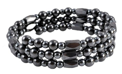 - Dark Gray Magnetic Simulated Hematite Wrap Bracelet