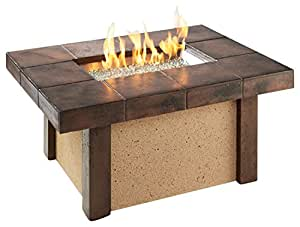 Amazon.com: River's Edge Crystal Fire Pit Table with Darkland Tile Top and Burner: Garden & Outdoor