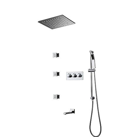 Juego de Ducha,300x300 mm Sistema de Ducha Termostático LED ...
