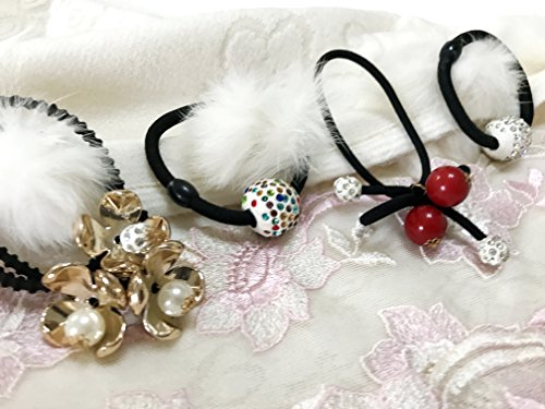 Price comparison product image Pack of 4 pcs Baby Girl's Teen Black Elastic Hair bands Hair Hoops Ponytail Headbands :H12 (Band-1)