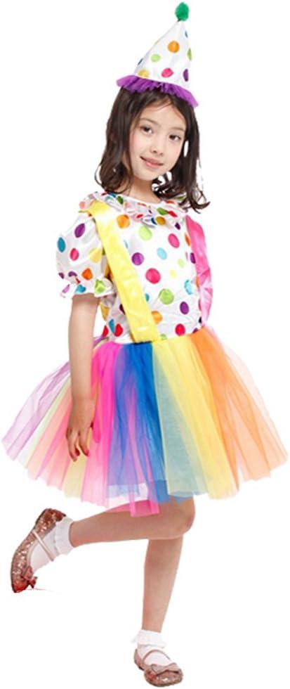 non-brand Disfraz de Payaso para Niñas Ropa Circo para Niñas Vestuario Tutú de Teatro Atuendo de Cumpleaños Bebé Traje de Carnaval - M