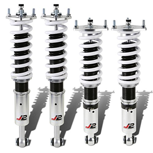 J2 Engineering J2-COIL-9100-WS Lexus GS300/GS430 32-Way Adjustable Coilover Damper Spring (White) (Upper Shock Mount Coilover)