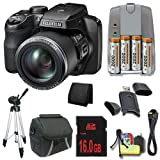 Fujifilm FinePix S9900W 16.2 MP Digital Camera with 3.0-Inch LCD (Black) + 4 AA Pack NiMH Rechargeable Batteries and Charger + 16GB SDHC Class 10 Memory Card + Carrying Case + Full Size Tripod + Mini HDMI Cable + SDHC Card USB Reader + Memory Card Wallet + Deluxe Starter Kit DavisMAX Bundle