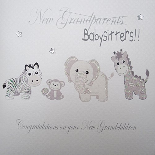 Congratulations Twins - White Cotton Cards PD231 Silver Toys, New Grandparents/Babysitters!! Congratulations On Your New Grandchildren Handmade Twins/Triplets New Granparents Card by WHITE COTTON CARDS