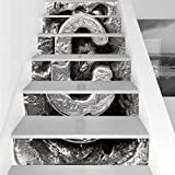 Stair Stickers Wall Stickers,6 PCS Self-adhesive,Letter C,Fused Elements Aluminum Style Minuscule C Words First Name Theme Background Artwork Decorative,Silver,Stair Riser Decal for Living Room, Hall,