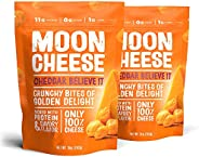 Moon Cheese Cheddar Believe It, 100% Cheddar Cheese Snacks, Crunchy Keto Food, Low Carb, High Protein, 10 oz.