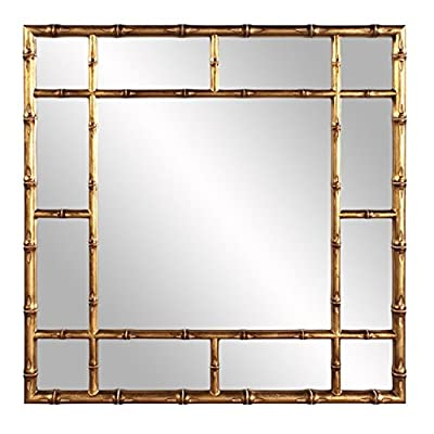Howard Elliott 92120 Bamboo Mirror, Gold, One Size - Square frame fashioned to look like bamboo rods Finished in our country gold Made of resin - bathroom-mirrors, bathroom-accessories, bathroom - 51YOeOBz54L. SS400  -