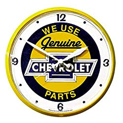 Greg's Automotive Genuine Parts Wall Clock Compatible with Chevrolet Chevy 12 Dia. - Bundle with Driving Style Decal