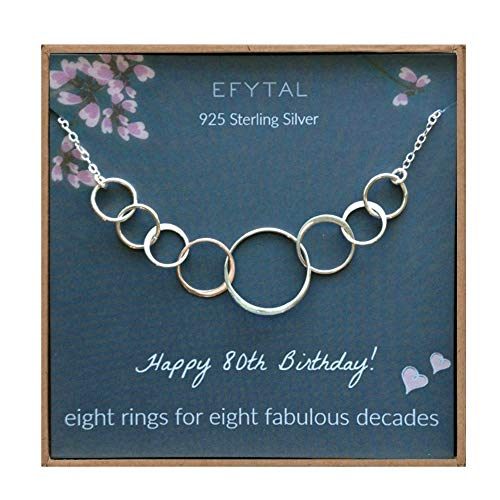 80th Birthday Circle Necklace: Eight Rings for Eight Decades