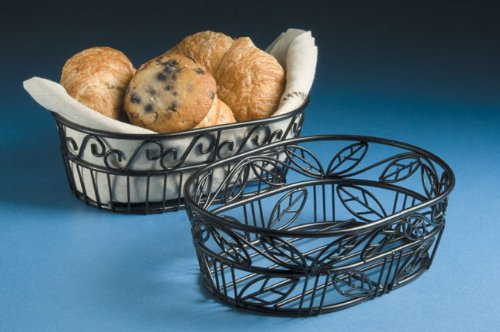 American Metalcraft (OLB9) 9'' Oval Wrought Iron Bread Basket w/Leaf Design