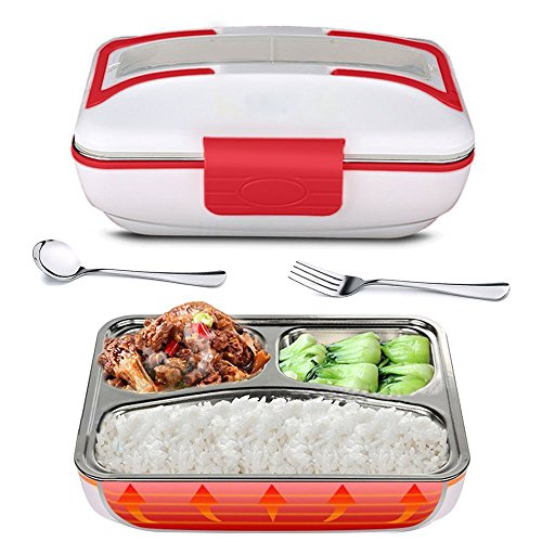 YOUDirect Electric Heating Lunch Box - Portable Bento Meal Heater Food Warmer Stainless Steel Plug Heating Food Container Leak-Resistant Reusable Electronic Food Boxes for Home Office Use 110V (Red)