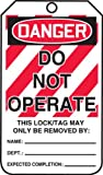Accuform Signs MLT400CTP Lockout Tag, Legend DANGER DO NOT OPERATE, 5.75'' Length x 3.25'' Width x 0.010'' Thickness, PF-Cardstock, Red/Black on White (Pack of 25)