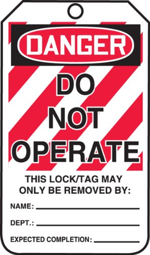 Accuform Signs MLT400CTP Lockout Tag, Legend''DANGER DO NOT OPERATE'', 5.75'' Length x 3.25'' Width x 0.010'' Thickness, PF-Cardstock, Red/Black on White (Pack of 25) by Accuform