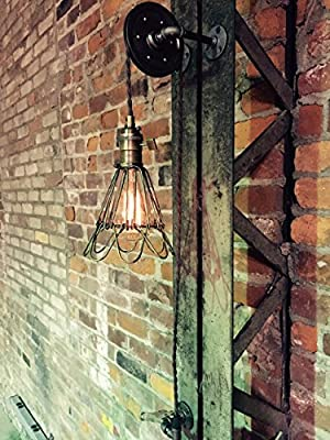Jumbo Pulley Wall Mount Light with Antiqued Cage Pendant Light on Aged Pulley Mount - Built in the USA by Industrial Rewind