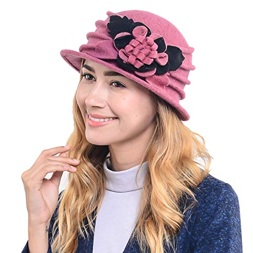(Women's French Beret - 100% Wool Cloche Hat - Beret Beanie for Winter C020 (Pink))