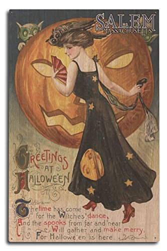 Salem, Massachusetts - Halloween Greeting - Witch Dancing and Pumpkin - Vintage Artwork (10x15 Wood Wall Sign, Wall Decor Ready to Hang) ()