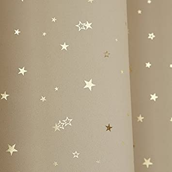 Best Home Fashion Gold Star Print Thermal Insulated Blackout Curtains – Grommet Top – Beige – 52 W x 63 L – Set of 2 Panels