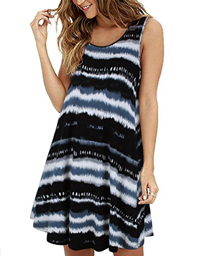 FANSIC Tank Dress with Pockets, Scoop Neck Sleeveless Tie Dye Tunic Dresses with Pocket Blue Black M (Stylish Scoop Neck Sleeveless Striped Womens Sundress)