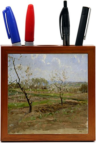 Rikki Knight Victor Westerholm Art Kukkiviahedelmapuita Design 5-Inch Wooden Tile Pen Holder (RK-PH3389)