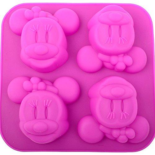 Silicone Cake Molds Disney - Silicone Mold DIY Handcraft Soap Making Cake Cupcake Chocolate Sugar Craft Fondant Ice Bakeware Tray (4 Holes Mini Mouse)