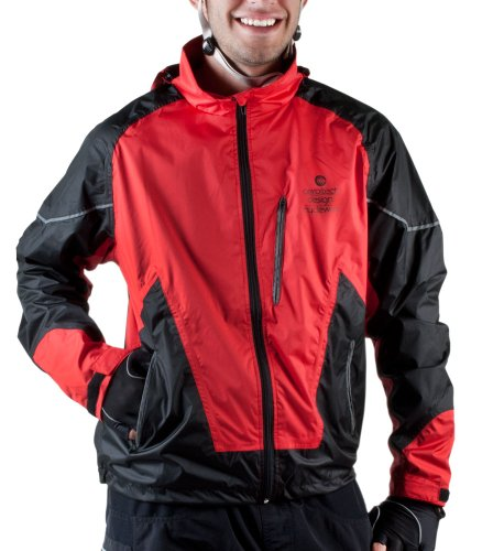 AERO|TECH|DESIGNS Big Man's Waterproof Breathable Cycling Jacket (4XL, Red)