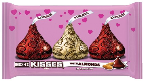 Hershey's Kisses Valentine's Milk Chocolate with Almonds, 10-Ounce Bag