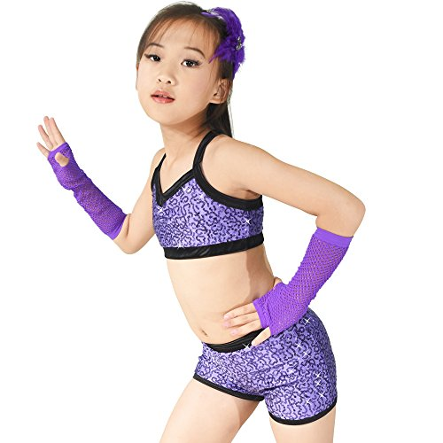 MiDee Sequins Costume Crop Tops & Shorts Hip Hop Pole Dance Outfits Gymastics Acrobatics Competition Performance (LC, Purple) by MiDee