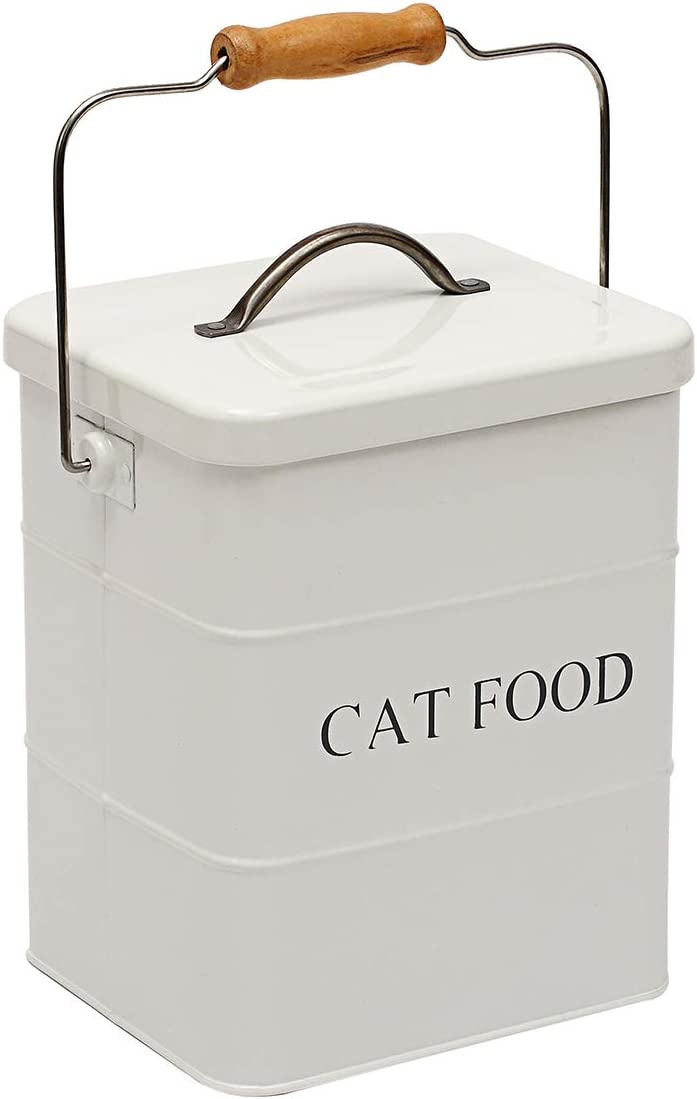 Brabtod Airtight Bucket Container for Pet Food Storage - Metal Container with Lid and Free Spoon
