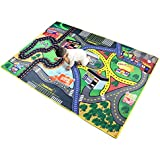 """Children Carpet Playmat Rug Pretend-City, 37""""x 57"""" Car Rug Road Carpet for Classroom Playroom Bedroom, Safe and Interesting for Kids Playing with Cars and Toys, Boy and Girl's Gift"""