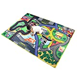 "Children Carpet Playmat Rug Pretend-City, 37""x 57"" Car Rug Road Carpet for Classroom Playroom Bedroom, Safe and Interesting for Kids Playing with Cars and Toys, Boy and Girl's Gift"