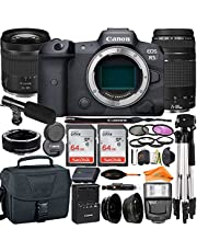 Canon EOS R5 Mirrorless Digital Camera 45MP Full Frame with RF24-105mm + EF75-300mm Daul Lens + SanDisk 64GB Card + Mount Adapter + Case + Tripod + UV Filter+ ZeeTech Accessory Bundle (26pc Bundle)