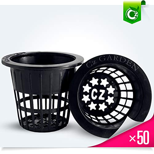 2 inch Net Pots Cups Heavy Duty Round Wide Rim Design - Orchids Aquaponics Hydroponics Slotted Mesh (Cz Garden All Star - 50 Black) ()