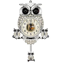 C.J Gallery Mother-of-pearl owl wall clock Luxury home decoration Gold/Silver/Blue Silver (Silver)