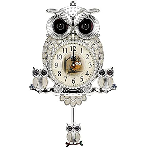 C.J Gallery Mother-of-pearl owl wall clock Luxury home decoration Gold/Silver (Silver) - Mother Of Pearl Wall Art