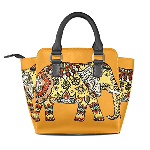 Bags Women's Shoulder Decorated TIZORAX Handle PU Elephant Handbags Indian Leather Top wHgqIv