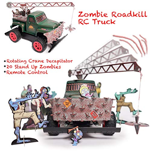 (ZOMBIE ROADKILL ESCAPE - 360 Crane Decapitator TOW TRUCK, ZOMBIE TOY, Revolving Crane, Stand up ZOMBIES, FRONT GRILL IMPALER, FULL FUNCTION RADIO CONTROL, High Speed, Gift for Adults and Kids, 2.4 GHz)