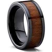 Metal Masters Co. Black Ceramic Flat Top Wedding Band Ring with Real Koa Wood Inlay, 9MM Comfort Fit