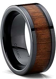 Black Ceramic Flat Top Wedding Band Ring with Real Koa Wood Inlay, 9MM Comfort Fit, SZ 8