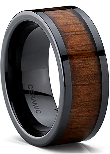 Men's Black Ceramic Flat Top Wedding Band Ring with Real Koa Wood Inlay, 9MM Comfort Fit, SZ 15