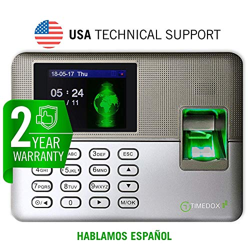 Timedox Silver D Biometric Fingerprint Time Clock for Employees   $0 Monthly Fee   One Time Payment for The Software Required   Include USB Flash Drive & Dynamic Reports Creator   USA Support by Timedox (Image #1)