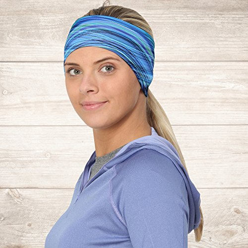 TrailHeads Women's Print Ponytail Headband – 12 prints  - Made in USA - deep dive blue by TrailHeads (Image #4)