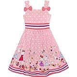 KM13 Girls Dress Cartoon Polka Dot Bow Tie Summer Size 6