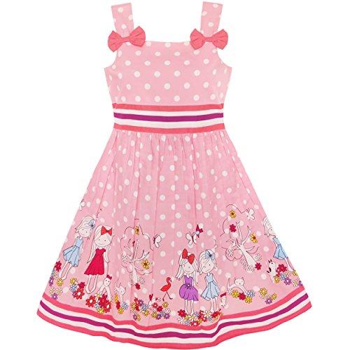 KM12 Girls Dress Cartoon Polka Dot Bow Tie Summer Size 4-5, pink for $<!--$7.99-->