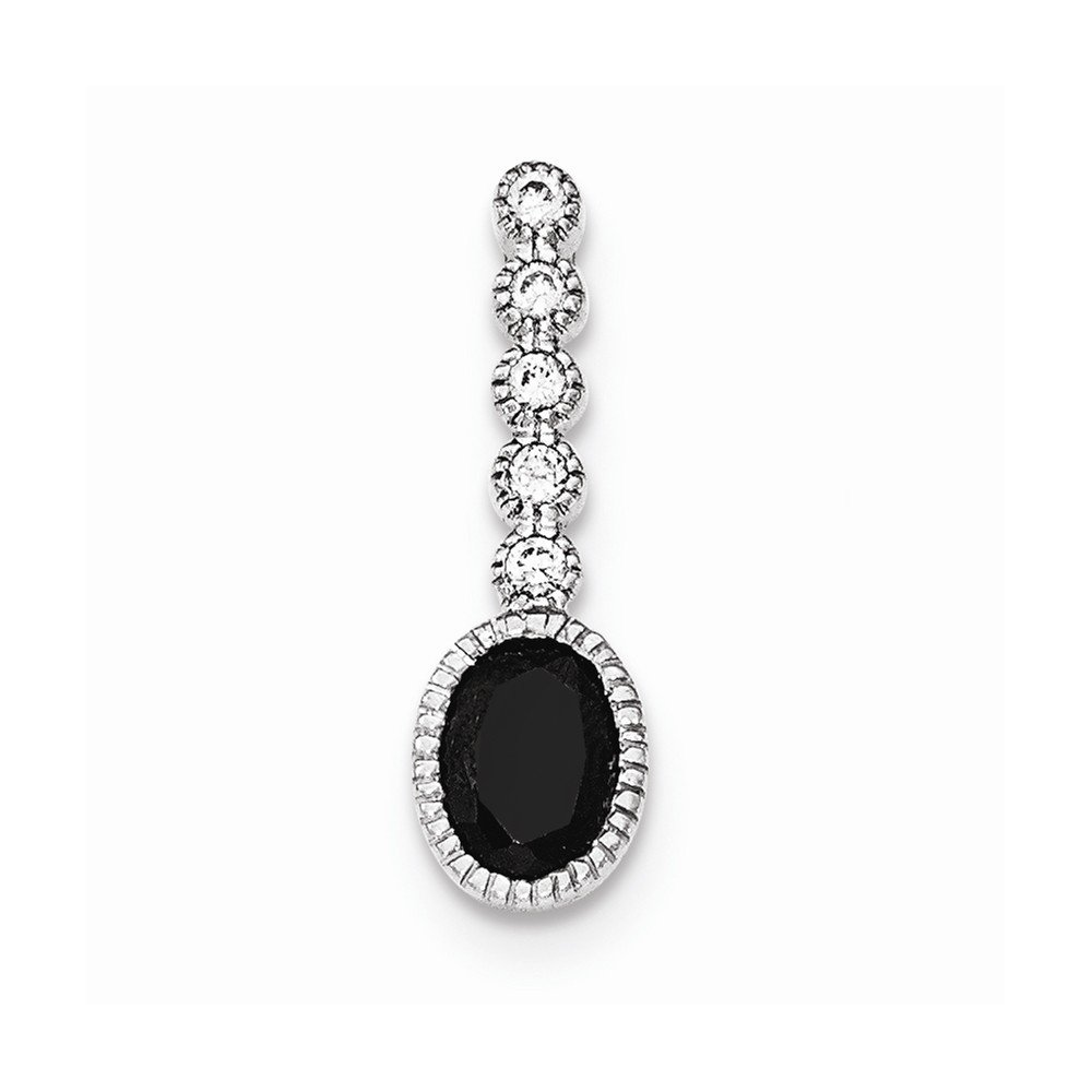 Sterling Silver Polished Black /& White CZ Chain Slide Pendant