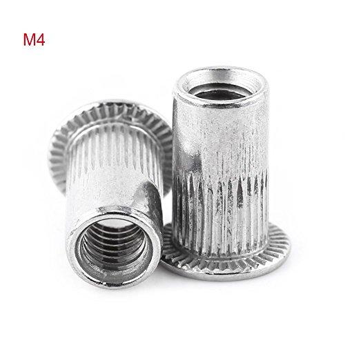 (Rivet Nuts Flat Head Aluminum Threaded Blind Insert Rivnut sert Screw Stainless Steel M3-M8 (M4))