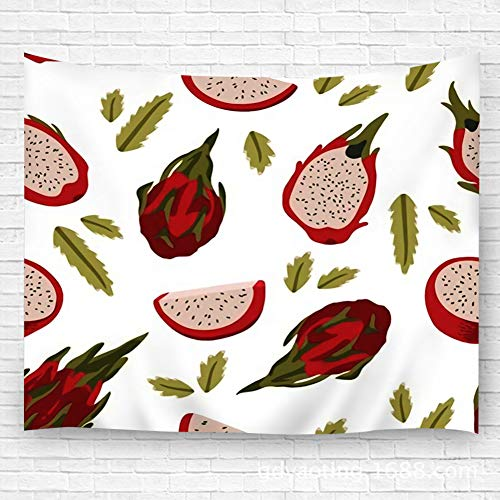 YILINGER Tapestry Wall Art Summer with Dragon Fruit Pitaya Flowers and Leaves Texture Design Wall Carpets 59.1