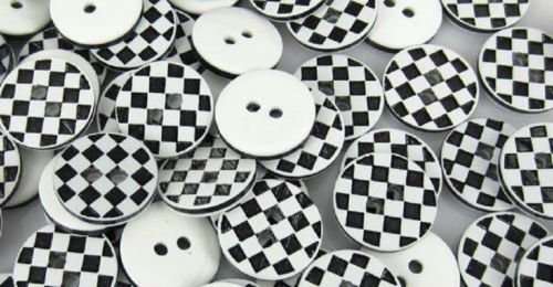 ShopForAllYou Buttons Craft Sewing Lot B&W Checkerboard 2-Hole Resin Button 1/2
