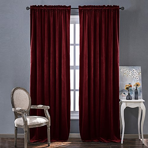 Red Velvet Curtains and Drapes for Bedroom - Ruby Red Curtains for Holiday Season Home Decoration by NICETOWN (Set of 2, Rod Pocket Design, 84 inch Long) - 84 Inch Pole Top Curtain