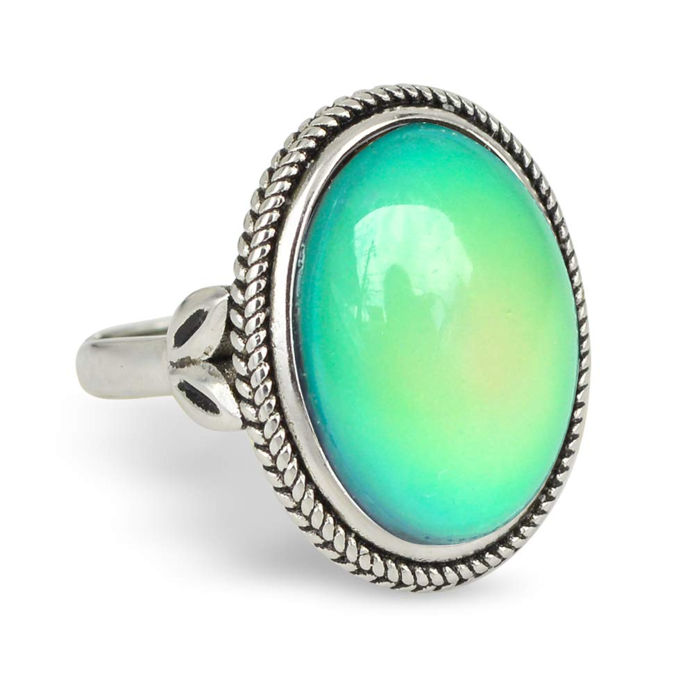 Fun Jewels Vintage Style Antique Silver Plating Brass Oval Stone Color Change Mood Ring Size Adjustable by Fun Jewels