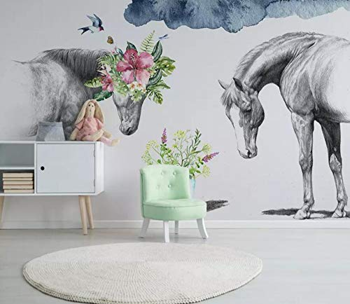Wall Mural 3D Creative Floral Black and White Couple Horse Modern Custom Photo Wallpaper Murals Wall Decor